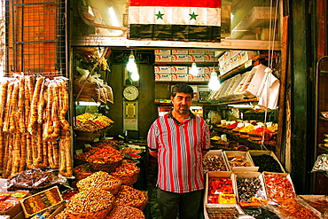 Dry fruits shop in the Harija Slimaniye souq, Damascus, Syria