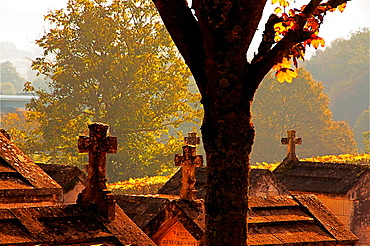 Graveyard by the Saint Cybard church, at Rivieres, Charente, Poitou-Charentes, France