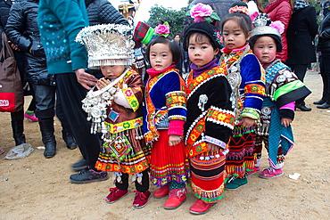 China, Guizhou province, Yatang town, Green Miao Lusheng festval, children.