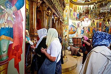 The Greek Orthodox Church of the Twelve Apostles in Capernaum by the Sea of Galilee, Lake Tiberias, Israel.