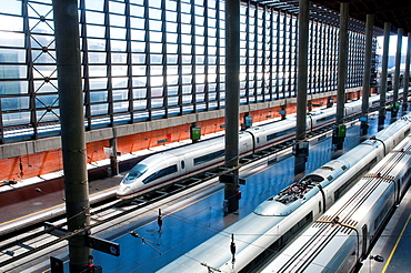 AVE trains at Puerta de Atocha Railway Station. Madrid, Spain.