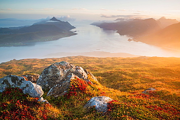 View over Nappstraumen from summit of Offersoykammen, VestvÂgoya, Lofoten Islands, Norway