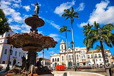 Terreiro de Jesus square and Sao Pedro dos Clerigos chuch, Pelourinho, Salvador, Bahia, Brazil.