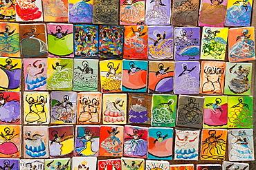 Paintings, souvenirs, Pelourinho, Salvador, Bahia, Brazil.