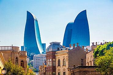 Azerbaijan, Baku City, Old Baku City (W.H.) and Flame Towers.