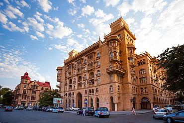 Azerbaijan, Baku City, Down town architecture.