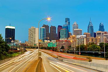 USA ,Pennsylvania, Philadelphia City, Philadelphia City skyline at sunset.