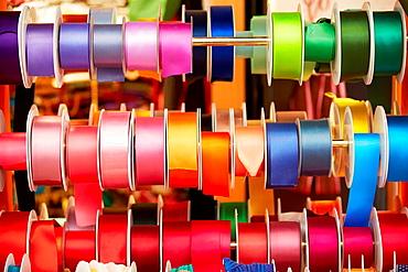 Colorful ribbons. Haberdashery. Plaza Redonda. Valencia. Comunidad Valenciana. Spain.