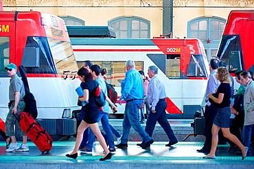 Trains. North Railway Station. Valencia. Comunidad Valenciana. Spain.