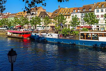Quai des Pecheurs, fishermen quay, Ill river, Strasbourg Alsace.