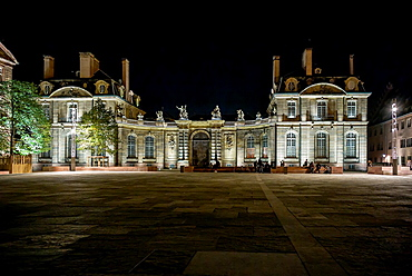 Palais de Rohan palace at night Strasbourg Alsace France.