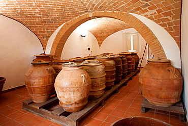 Oil cellar, country house, Tuscany, Italy
