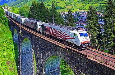 Austrian Federal Railway, oBB, Freight train on the Steinbach viaduct