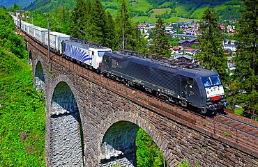 Austrian Federal Railway, oBB, Freight train on the viaduct Steinbach