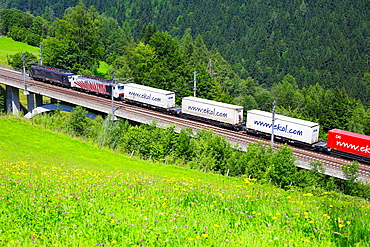 Austrian Federal Railway, oBB, Freight train in the Salzach Valley on the uphill ride to the Klamm tunnel