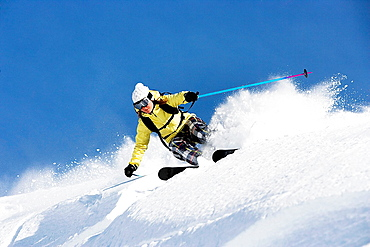 Woman skiing at speed