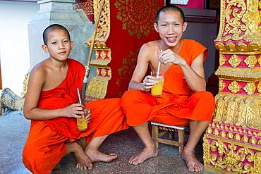 Novice monks at Wat Nong Sikhounmuang in Luang Prabang, Laos.