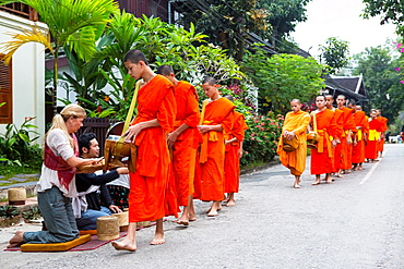 Alms giving ceremony in Luang Prabang, Laos.