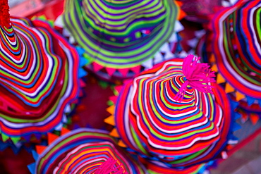Colourful Hmong hats in Luang Prabang, Laos.