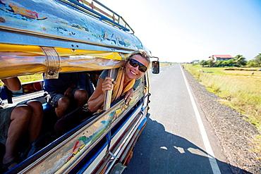 Tuk Tuk ride in Champasak, Laos.