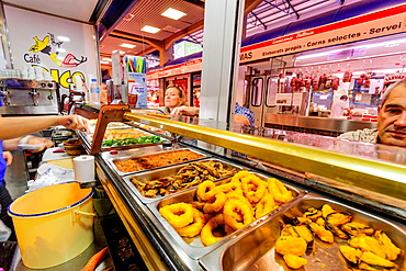 cafe bar Teodoro, snack bar, olive market, Palma, Mallorca, Balearic Islands, spain, europe.