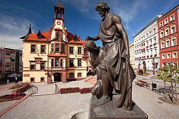 Nowa Ruda (german Neurode) town in Lower Silesia region. Poland. The Town hall and houses in the Market Square.