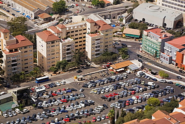 High angle view of a parking lot in Gibraltar city from the top of the rock, Gibraltar, Europe.