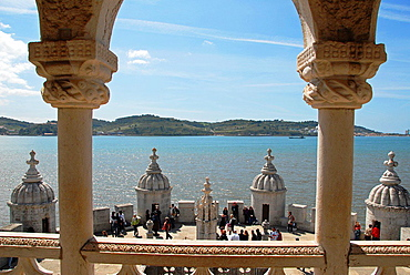 View of the river Tagus from the governor's room. Torre de Belem. Built in the 16th century in order to defend the Tagus river mouth. Lisbon, Portugal.
