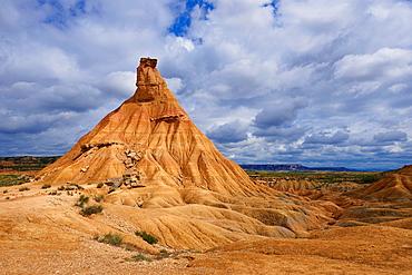 Bardenas Reales, Castildeterra typical rock formation, Bardenas Reales Natural Park. Biosphere Reserve. Navarre. Spain.