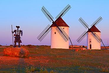 Mota del Cuervo, Windmills, Route of Don Qiuijote, Cuenca province, Castilla-La Mancha, Spain.
