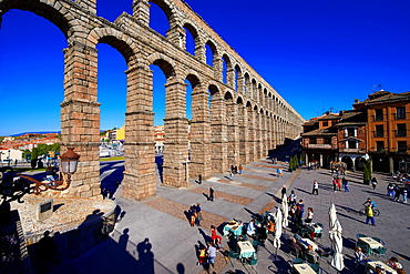 Segovia, Roman Aqueduct, Azoguejo Square, Castilla-Leon, Spain.