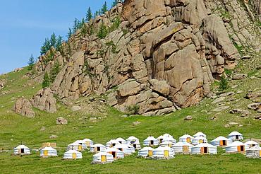 Mongolian gers in Gorkhi Terelji National Park, Mongolia.
