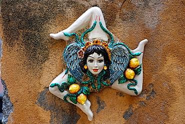 Trinacria, symbol of Sicily, Taormina, Sicily, Italy