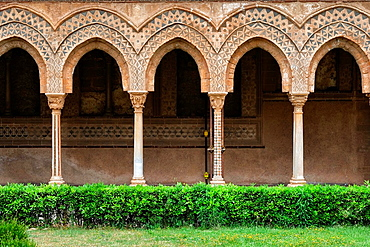 Details of the columns of Monreale abbey's cloister, Monreale, Sicily, Italy