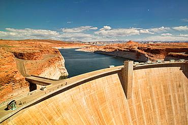 view of Glen Canyon Dam and Lake Powell, Page, Arizona.