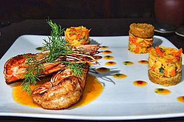 gourmet prawns served in Hanoi, Vietnam.