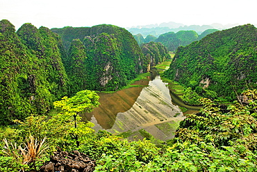 beautiful limestone karst mountains in Ninh Binh, Vietnam.