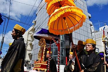 Naha, Okinawa, Japan, procession during the inauguration of a new Confucian temple in Matsuyama neighborhood