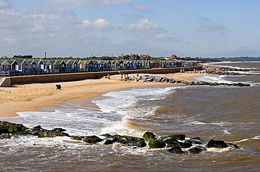 Southwold, North Sea, Beach Huts, beach cottages, Suffolk, England