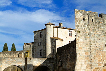 Moat and city walls next to Constance Tower. Aigues-Mortes, in Petit Camargue. Gard department. Languedoc-Roussillon region. France.