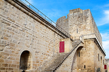 City walls of Aigues-Mortes, in Petit Camargue. Gard department. Languedoc-Roussillon region. France.