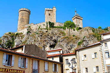 Foix castle view from the town, in Ariège department of Midi Pyrénées region. Cathar country. France.