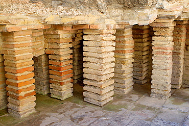 Thermal baths of Constantino 4th century, monument declarated World Heritage by UNESCO, in Arles, Bouches-du-Rhone department, in Provence-Alpes-Cote d'Azur, France.