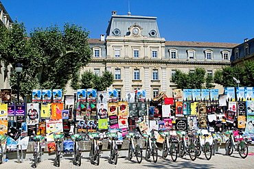 Posters from Theatre Festival in a street of Avignon city in Provenza-Alpes-Cotes d'Azur region, Vaucluse department. France.