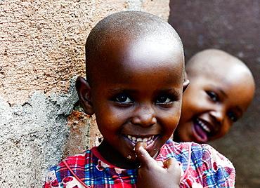 Cute Tanzanian girls in their village.