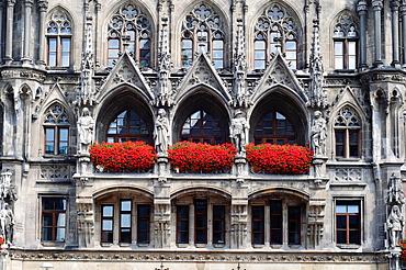 Germany, Bavaria, Munich, Marienplatz, Neues Rathaus, New Town Hall, Detail Facade.