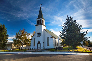 The Holy Cross Roman Catholic Church in Fort McLeod, Alberta, Canada