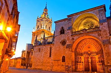 Cathedral, night view. El Burgo de Osma, Soria province, Castilla Leon, Spain.
