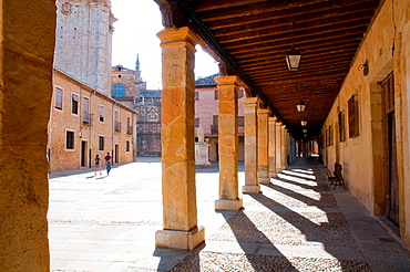 Arcade. San Pedro de Osma Square, El Burgo de Osma, Soria province, Castilla Leon, Spain.