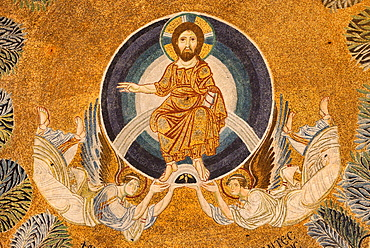 Greece, Central Macedonia, Thessaloniki, Agia Sophia church, listed as World Heritage, Paleochristian mosaic of the Ascension of Jesus Christ 9th C